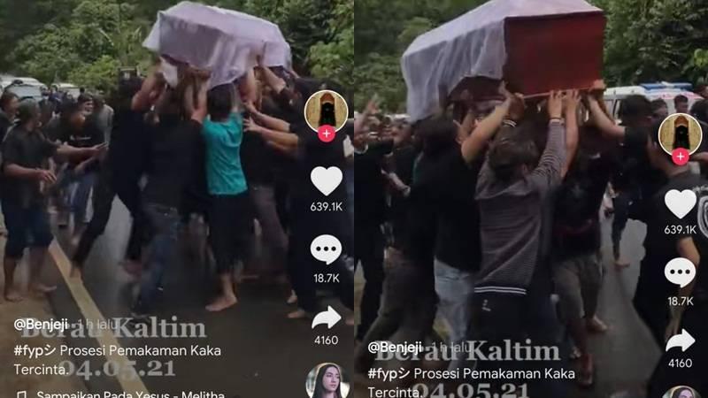 Cekricek.id - Segerombolan pria mengangkat dan juga mengambung peti jenazah lalu mengoyak-oyak jenazah tersebut viral di media sosial.